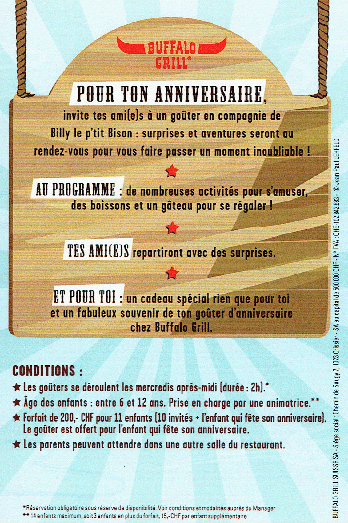 invitation anniversaire buffalo grill